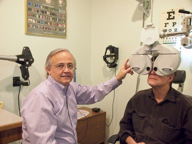 doctor checking patients eye sight
